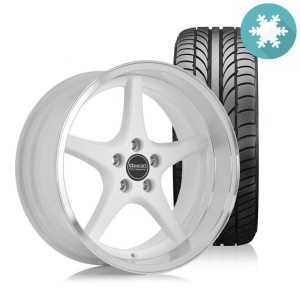 Ocean MK18 White 8,5x18 5x108 ET6 HUB 65,1 - Complete with winter tires