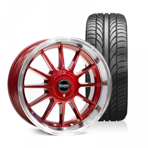 Ocean Classic Candy Red 8,5x17 5x108 ET10 HUB 65,1 - Complete with summer tires